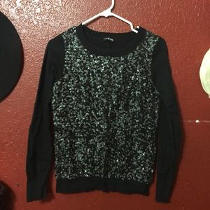 Express long sleeve sequined top
